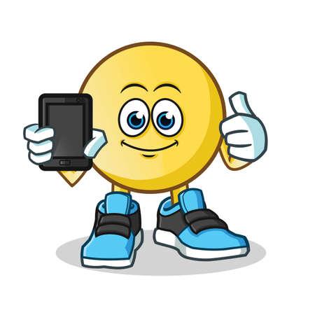 emoticon holding phone mascot vector cartoon illustration