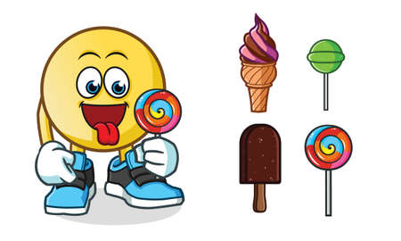 emoticon ice cream mascot vector cartoon illustration