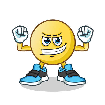emoticon muscle mascot vector cartoon illustration