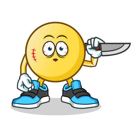 killer emoticon mascot vector cartoon illustration Illustration