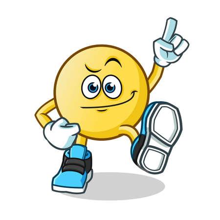 emoticon dancing mascot vector cartoon illustration