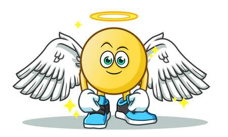 emoticon angel mascot vector cartoon illustration