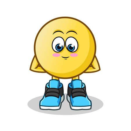 shy emoticon mascot vector cartoon illustration Illustration