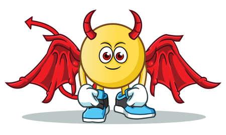 Emoticon Teufel Maskottchen Vektor Cartoon Illustration