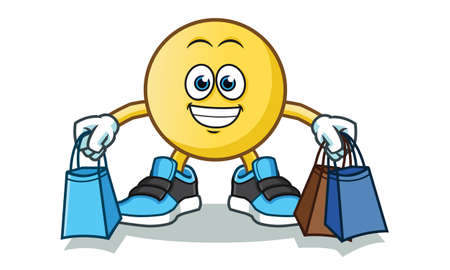 emoticon shopping vector cartoon illustration