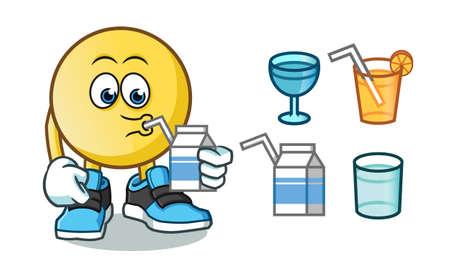 emoticon drink mascot vector cartoon illustration