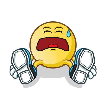 tired emoticon mascot vector cartoon illustration