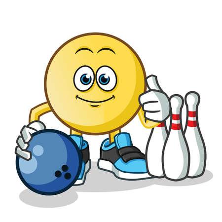 emoticon playing bowling mascot vector cartoon illustration Stock Illustratie