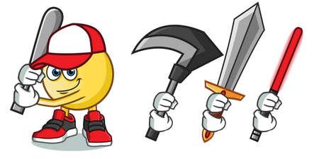 emoticon holding a bat mascot vector cartoon illustration