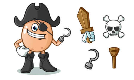 egg pirate mascot vector cartoon illustration