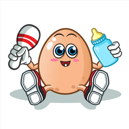 egg baby mascot vector cartoon illustration