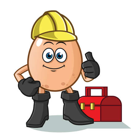 egg handy man vector cartoon illustration