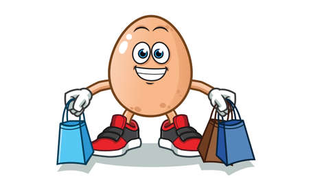 egg shopping vector cartoon illustration