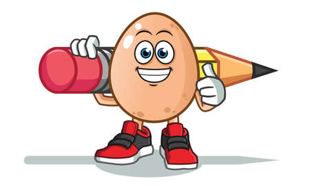 egg holding big pencil america vector cartoon illustration