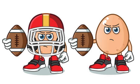 egg football america vector cartoon illustration