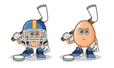 egg hockey mascot vector cartoon illustration Stock Illustratie