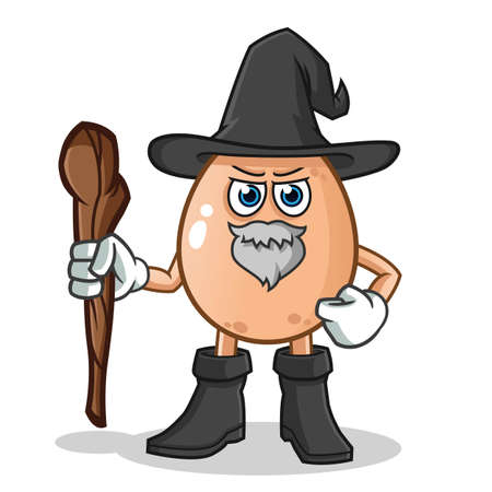 egg witch mascot vector cartoon illustration Stock Illustratie