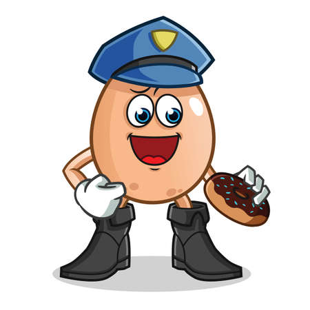 egg police eat donut mascot vector cartoon illustration Stock Illustratie