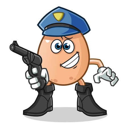 egg police holding gun mascot vector cartoon illustration