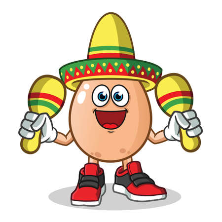 egg playing maracas and wearing a sombrero mascot vector cartoon illustration Stock Illustratie