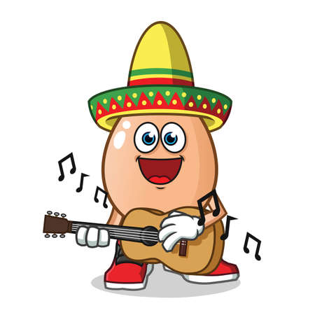 egg playing guitar and wearing a sombrero mascot vector cartoon illustration Stock Illustratie