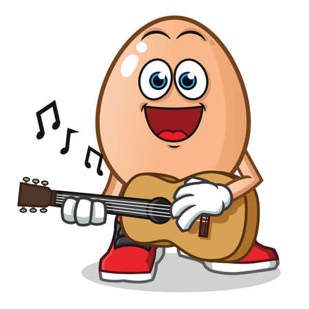 egg playing guitar mascot vector cartoon illustration