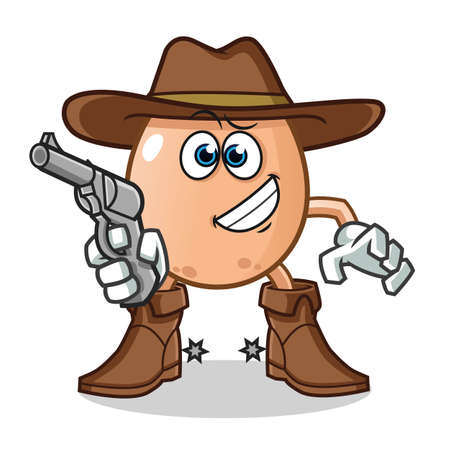 egg cowboy holding gun mascot vector cartoon illustration Stock Illustratie