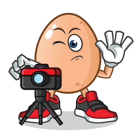 egg photographer taking pictures mascot vector cartoon illustration