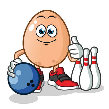 egg playing bowling mascot vector cartoon illustration