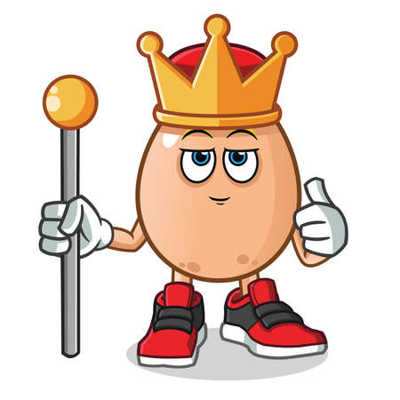 egg king mascot vector cartoon illustration