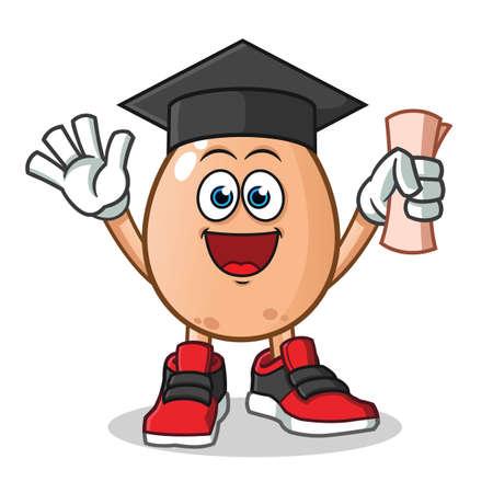 egg graduation mascot vector cartoon illustration Иллюстрация