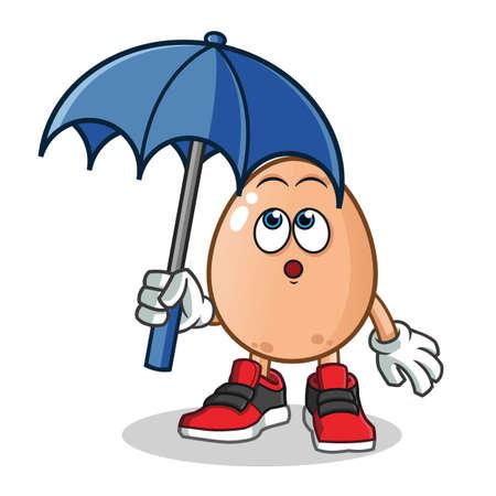 egg holding umbrella mascot vector cartoon illustration Иллюстрация