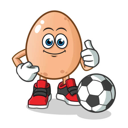 egg playing football mascot vector cartoon illustration