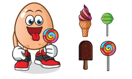 egg ice cream mascot vector cartoon illustration