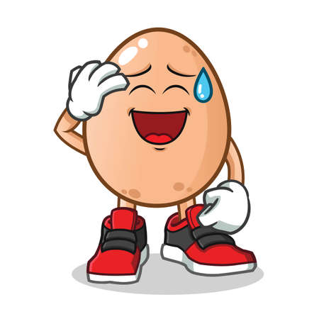 egg smiling face with cold sweat mascot vector cartoon illustration