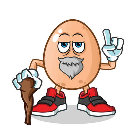old egg mascot vector cartoon illustration Stock Illustratie