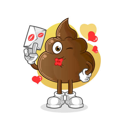 the poop hold love letter illustration. character vector 向量圖像