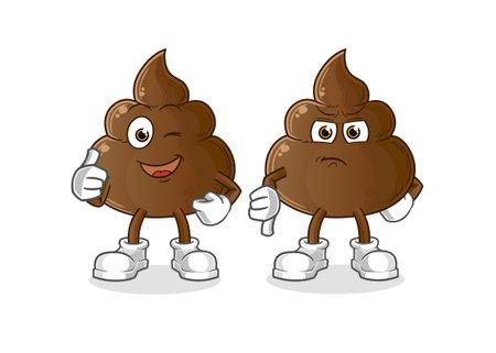 the poop thumbs up and thumbs down. cartoon mascot vector