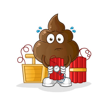 the poop holding dynamite character. cartoon mascot vector 向量圖像