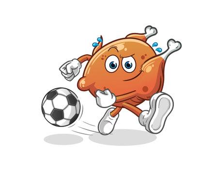 the fried chicken kicking the ball cartoon. cartoon mascot vector