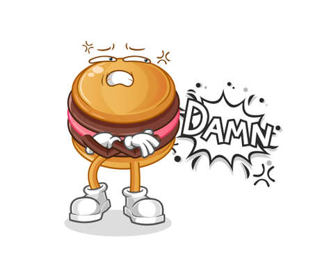 the macaroon very pissed off illustration. character vector