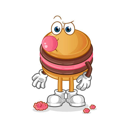 the macaroon chewing gum vector. cartoon character