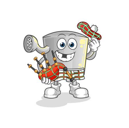 the watering can scottish with bagpipes vector. cartoon character