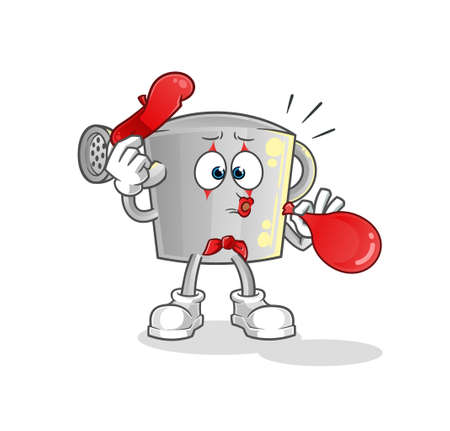 the watering can pantomime blowing balloon. cartoon mascot vector Vector Illustration