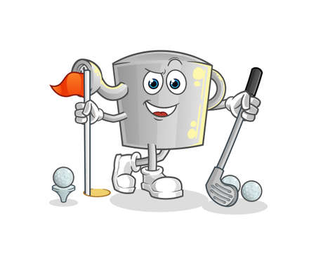 the watering can playing golf vector. cartoon character