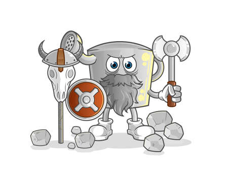the watering can viking with an ax illustration. character vector