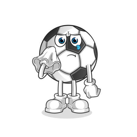 the ball cry with a tissue character. cartoon mascot vector