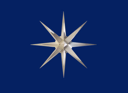 A white wind rose with cobalt blue background