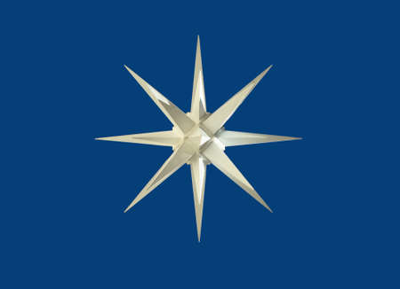 A white wind rose with blue background