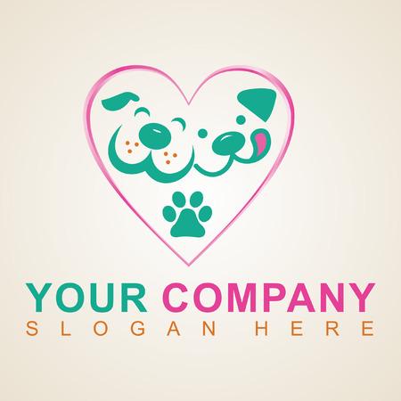Chien dans le logo de l'animalerie coeur rose